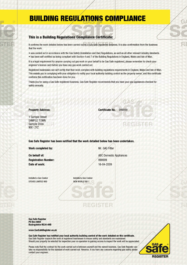 building regulations certificates gas safe register gas safe register