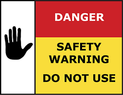 Danger do not use sticker that may be found on appliances after a gas safety check
