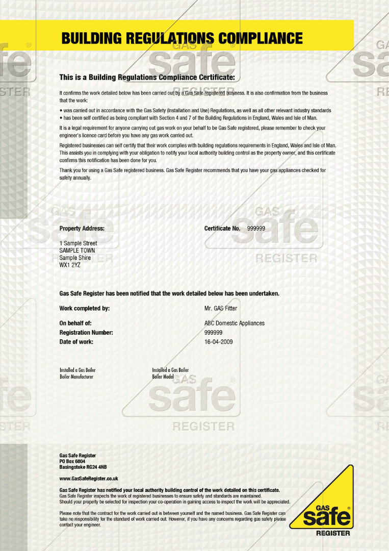 Building Regulations Certificates Gas Safe Register Gas Safe